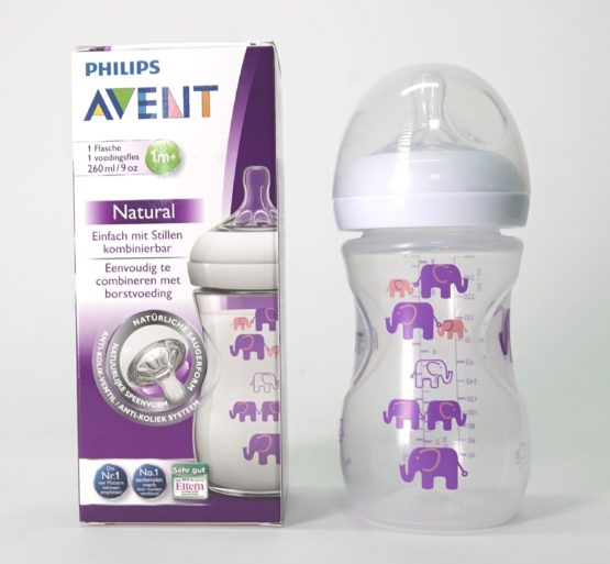 Phillips Avent Natural Feeding Bottle- Colored- 260ml- Pink Printed