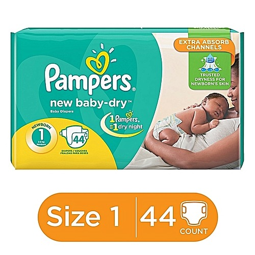 Pampers New Baby Dry- Newborn, Size 1, 44 Count