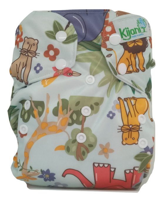 Kijani Printed Diaper and Soaker- Safari Green
