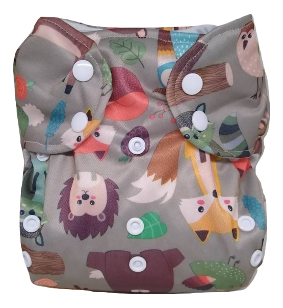 Kijani Deluxe Printed Diaper and Soaker- Forest Animals
