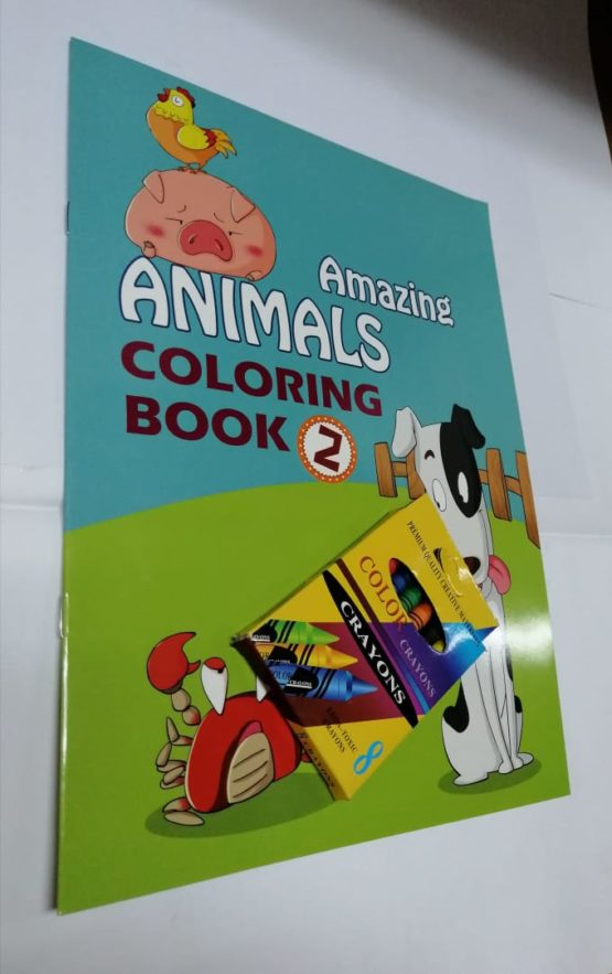 Amazing Animals Colouring Books: Level 2 with Crayons