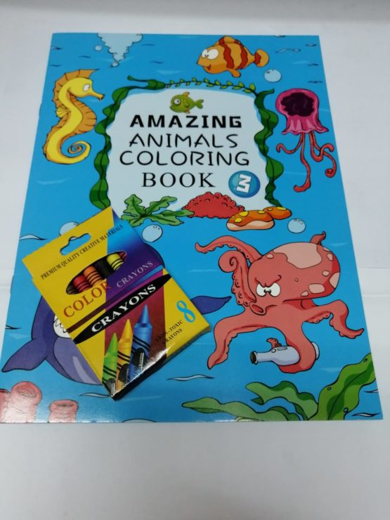 Amazing Animals Coloring Books: Level 3 with Crayons