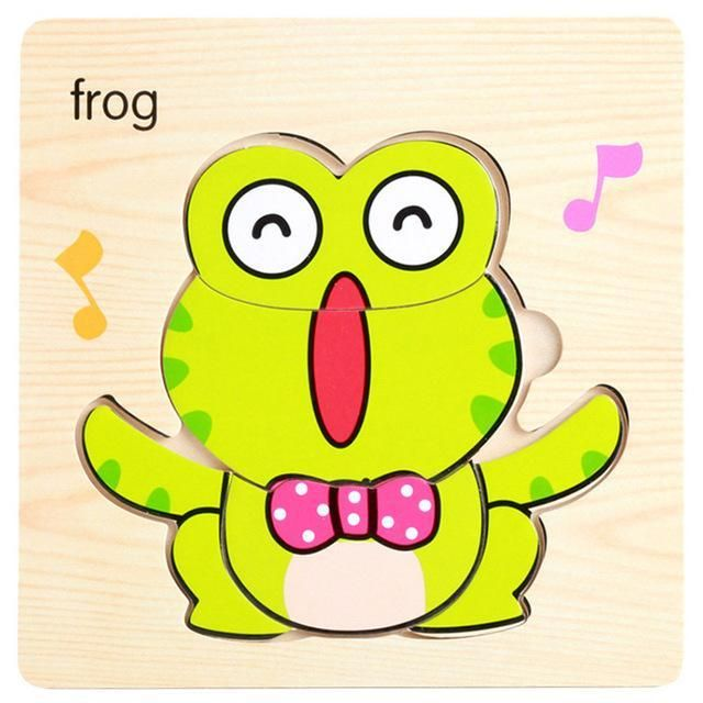 small wooden puzzle frog