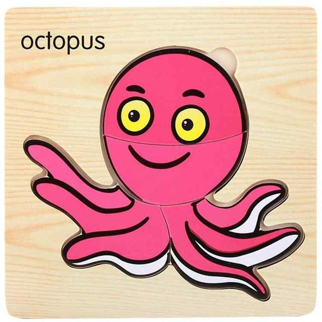 small wooden puzzle octopus