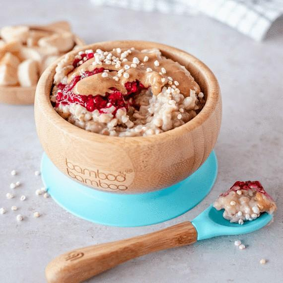 Bamboo suction bowl spoonset